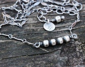 Sterling silver beaded minimalist necklace