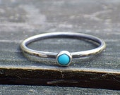 20% OFF Today Sleeping beauty turquoise sterling silver ring ... Tiny turquoise  ring dainty turquoise ring stacking ring
