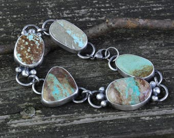 American mined chunky turquoise sterling silver bracelet