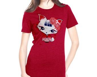 Japanese inspired kawaii Geisya Fox woman Tee