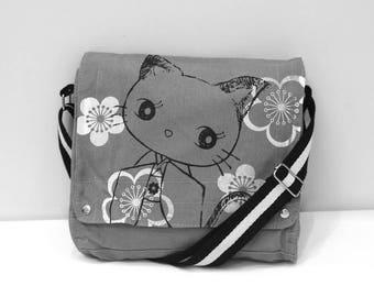 Kimono Kitty  Canvas Messenger Bag (Gray)