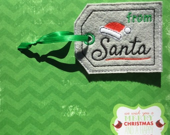 Santa Gift Tag, Embroidered Tag, From Santa