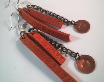 Faith, hope and love, Christian Jewelry, Leather earrings, dangle earrings