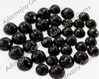 Gemstone Cabochon Black Spinel 8mm Rose Cut Fancy FOR TWO