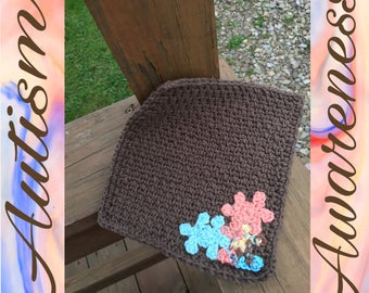 Brown Washcloth/Dishcloth with Cantaloupe , Turqoise, and Horizon Puzzle Pieces