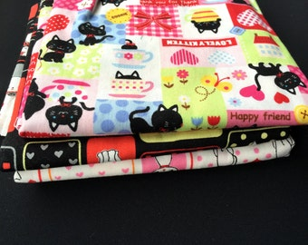 Japanese Fabric Cat Fabric -  3 Different Patterns Half Yard Each - Cute Cats - Clearance Item Sale (F128)