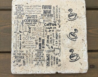 Coffee Natural Stone 6x6 Trivet