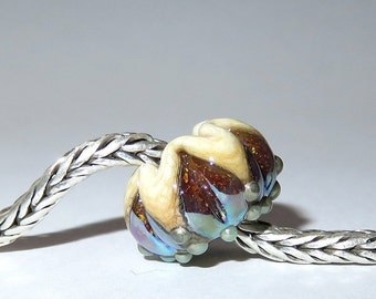 Luccicare Lampwork Bead - Antique Lotus -  Lined with Sterling Silver