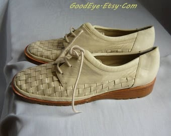 RAGONI Woven Leather Oxford Shoes / sIze 6 .5 Eu 37 UK4  Narrow width / NEVER worn Ivory Flats Lace Up Wedge / Made in Italy