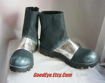 Strange SPACE AGE Ankle Boots/ Size Eu 42 MOD Fleece Lined Shoes / Suede Leather Black Metallic Silver /Womans sz 10   Men 8 .5