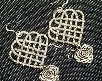 Metal Rose Celtic Style Symbol Statement Earrings