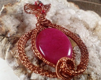 wire wrapped  indian agate stone red stone pendant aged red copper with beads