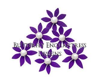 Wedding Hair Pins, Bridal Hair Pins, Pearl Hair Pins, Bridal Hair Piece, Wedding Headpiece - 12 Dk Purple Isla Mini Star Flower Hair Pins