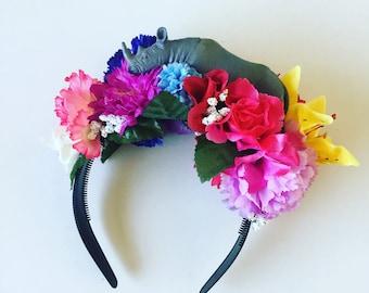 Flower Floral crown Head Dress Head Band Rhino Animal zoo Toy Festival