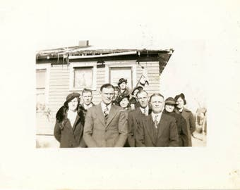 vintage snapshot photo Taken After Dads Funeral Family Group Unusual Triangle of People