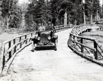 vintage photo Seward Alaska Couple Drive Over Adirondack Wooden Bridge
