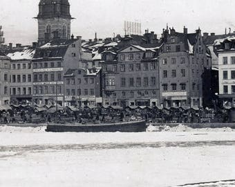 vintage photo 1909 Stockholm Sweden Snow Covered View City by Water