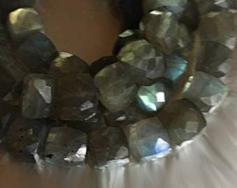 Labradorite Cubes in Dove Gray with Rainbows of Flashes
