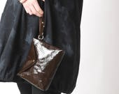 """Dark brown leather pouch, handheld leather pouch, Dark brown purse bag, brown varnished leather purse, MALAM, 9x7"""" - 22x17"""