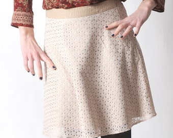 Beige lace skirt, Short flared lace skirt, Womens cream lace skirt, Womens skirts, Womens clothing, Spring fashion, MALAM