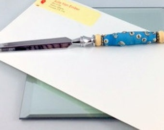 letter opener, beaded letter opener, tuquoise glass bead, artisan lampwork, etched glass, silver letter opener, office supply, home decor,
