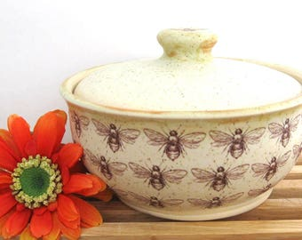 Ceramic Jar with Lid Featuring a  Bee Motif - Sugar Jar - Salt Jar - Lidded Jar - Honey Bee - Bumble Bee - Hand Thrown Stoneware