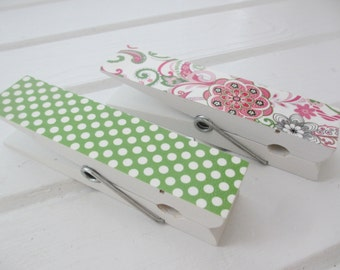 Kids Art Wall Clips - Pink & Green 6 Inch Clothespins (2)