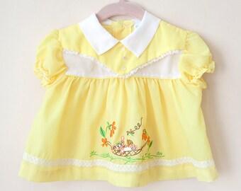 Vintage Baby Dress / Vintage Yellow Bunny Baby Dress / Vintage Baby Cradle Togs Dress / Size 3-6 Months