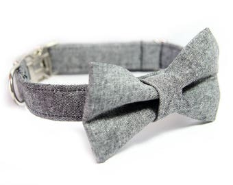 Bowtie Dog Collar - Wedding Collar - Black Linen Dog Collar