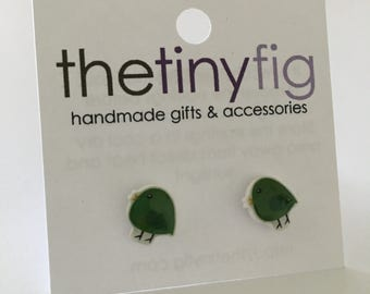 Limited Edition: Green Bird Earrings - Sterling Silver Posts Studs