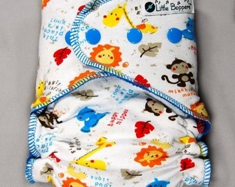 Made to Order Cloth Diaper or Cover - This Place is a Zoo - You Pick Size and Style - Custom Nappy or Wrap - Baby Animals