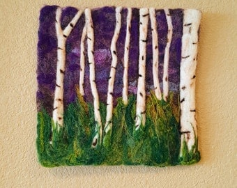 Felted Wool Fiber Wall Hanging Birches at Twilight