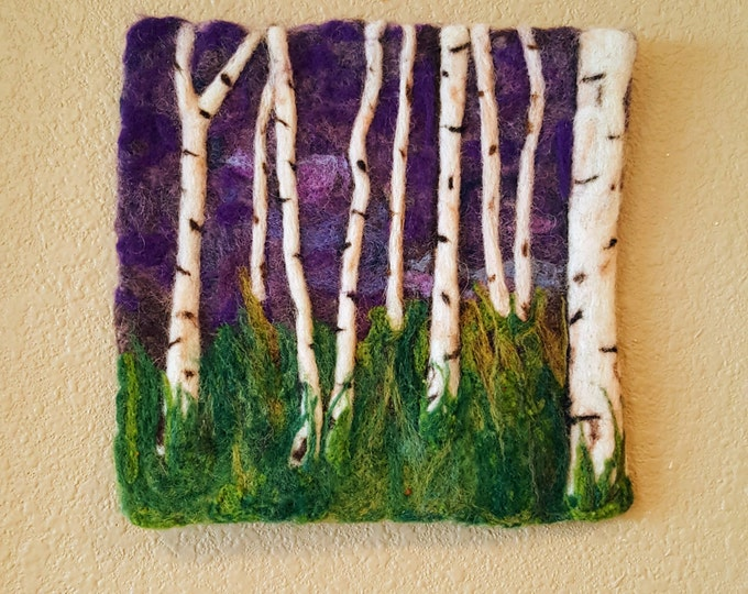Birches at Twilight - Felted Wool Fiber Wall Hanging