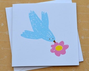 Bird and Flower Small Screenprinted Card