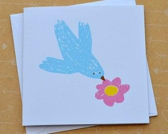 Bird and Flower Small Screenprinted Card