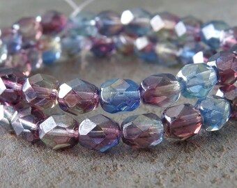 Silver Luster Amethyst Sapphire Jonquil Czech Glass 6mm Faceted Round Bead : 25 Tri Color Beads