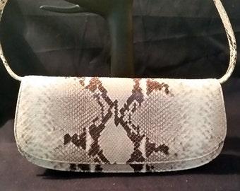 Vintage Snake skin Bag Handbag Ivory/Brown Shoulder Bag Small Purse