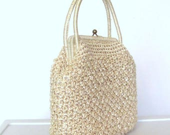 Vintage Beige Raffia Straw Bag 50s 60s Crochet Raffia Purse Large Made in Japan