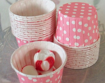 Polka Dot Nut Cups / Two Dozen / Easter / Pink & White