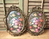 Italy Oval Frame Brass with Rounded Glass made in Italy with Floral Print Lot of 2