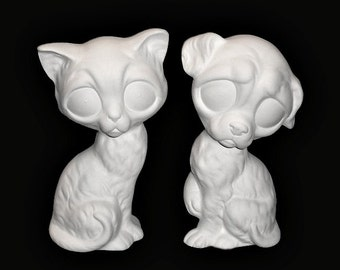 Ceramic Bisque Retro Cat and Dog Figurines with Whimsical Large Eyes 70's Style You Paint - Made to Order