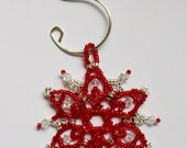 FROZEN Christmas Red and Silver Beaded Snowflake Ornament with Swarovski Crystals, hand stitched