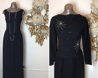 Fall sale 1960s dress evening gown 60s dress formal dress size small Vintage dress maxi dress with top 2 piece set rhinestone dress