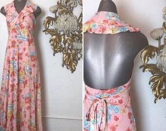 Fall sale 1970s dress maxi dress size small vintage dress halter dress 70s dress wrap dress backless dress