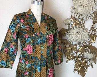 Fall sale 1970s blouse batik blouse cotton blouse size medium vintage blouse bohemian slouse 1970s shirt
