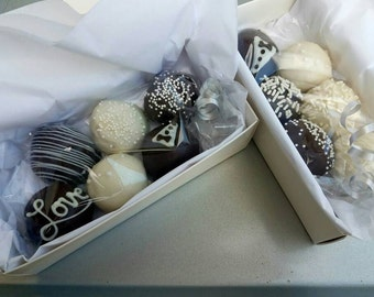 Cake Balls: Wedding, Anniversary, Engagement, Bridal Shower sampler pack of cake balls. Gift under 20.00