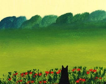 Black Cat  FRENCH POPPIES  folk art print by Todd Young