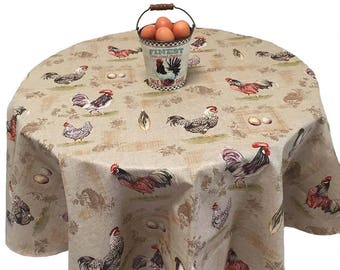 French Country Tablecloth, Chicken Tablecloth, Farmhouse Tablecloth, Coated Tablecloth