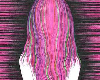 Giclee Print  Modern Wall Decor Art Woman Female long hair Pink 8 x 10 inches