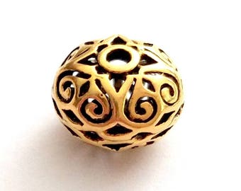 Hollow Bali Antique Vermeil Bead 10mm by 13mm